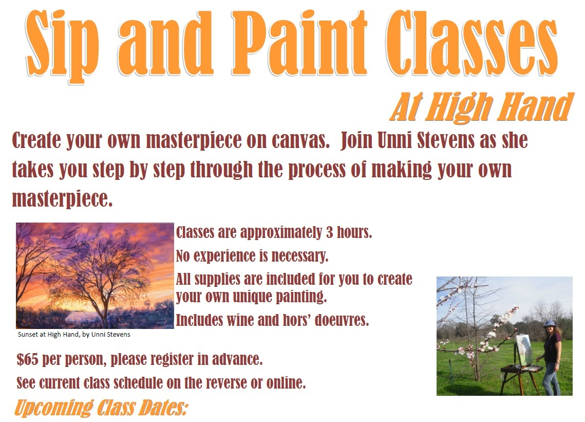 Sip and paint class persimmons in mist high hand nursery for Sip and paint